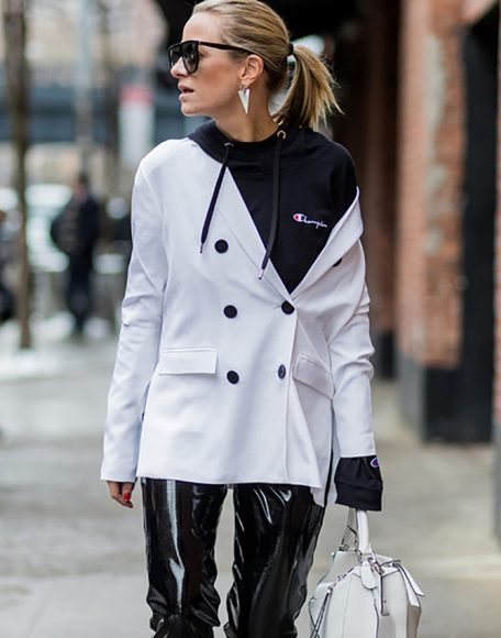07anld-l-610x610-jacket-nyfw2017-fashionweek2017-fashionweek-streetstyle-blazer-whiteblazer-hoodie-blackhoodie-champion-athleisure-sunglasses-earrings-jewels-jewerly-pants-blackpants-leather