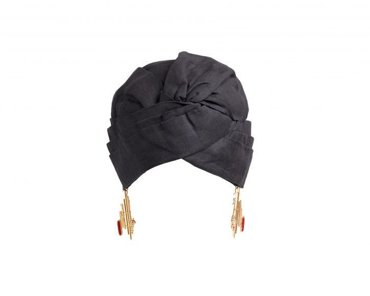 GENOVEFFA TURBAN BLACK PLATIMIRO FIORENZA COLLABORATION X FLAPPER_GENEVIEVE XHAET SS19