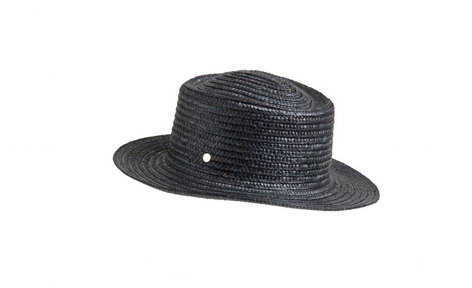 MARIA HAT STRAW BLACK FLAPPER_GENEVIEVE XHAET SS19