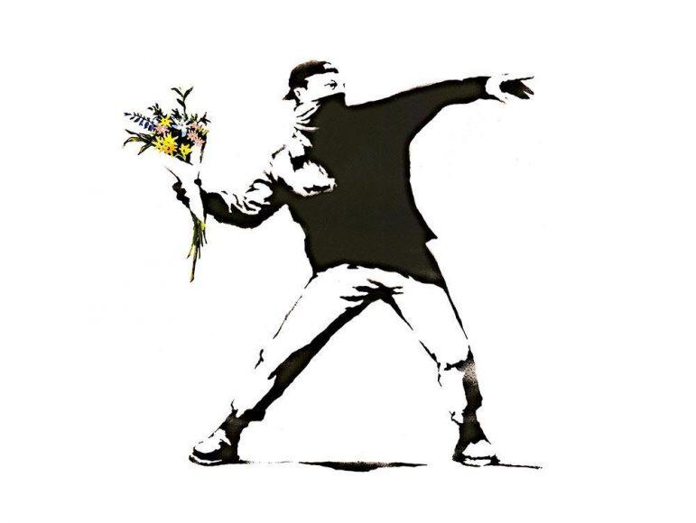 Banksy_Flower_Thrower_Wall_Mural_Wallpaper_a
