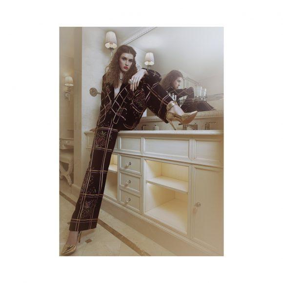 Top & Trousser: Rahul Mishra Shoes: On Aura Tout Vu  At Splendide Royal Hôtel Paris