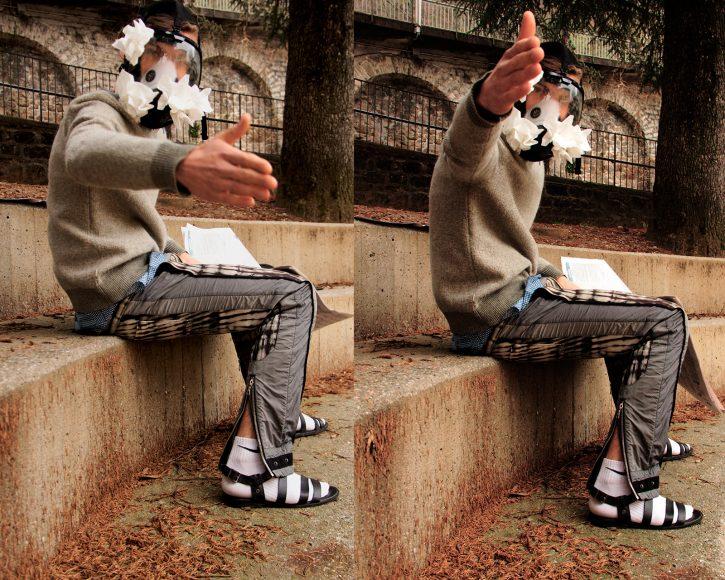 Pants- Dries Van Noten Hat- H&M Shirt - Giorgio Armani Hanky -Stylist's own Socks- Nike Sandals - Versace