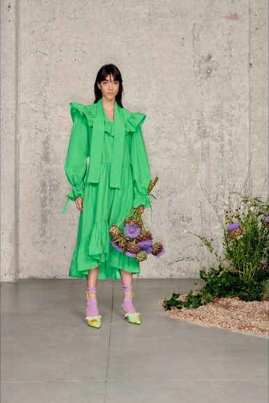 Green dress Fashion ShowsPrimavera Estate 2021MSGM