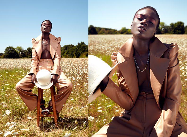 Hat : COCOSHNICK Necklace : DIESEL Faux leather pantsuit : A/RAISE