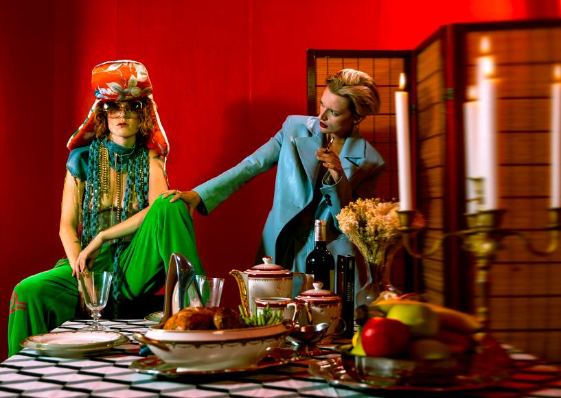 jacket and pant blue : a_raise  belt jeans ( col ) : maisondavidebazzerla  corset : subterranei hat : leonard velvet pant green : leonard glasses : fakbyfak