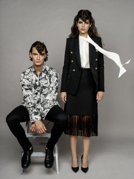 him: shirt Balenciaga pants Versace her: jacket Balmain, shirt Alexander McQueen skirt Burberry