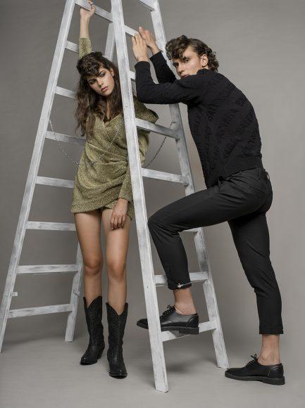 her: dress and boots Collini him: sweater Balenciaga / pants Neil Barrett shoes Zanotti