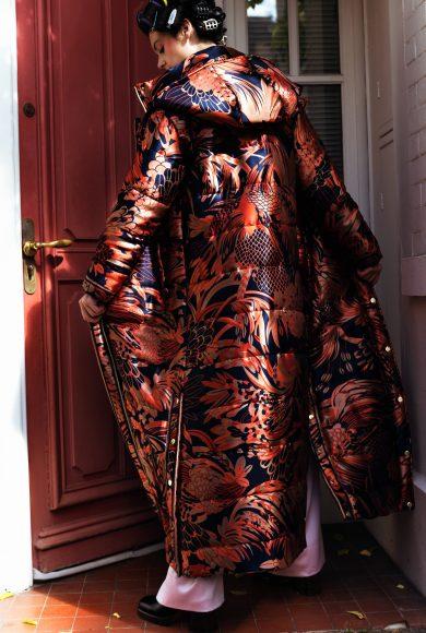 She wears : Coat Léonard Paris , Body Pain de Sucre, Trousser A_Raise, Shoes Paule Ka