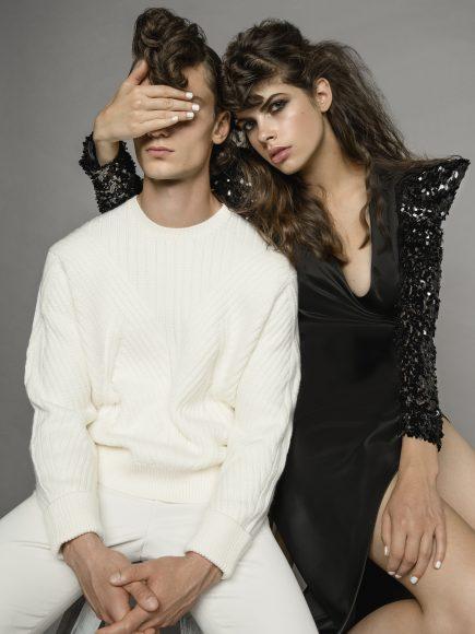 him: sweater Neil Barrett pants Saint Laurent her: dress Collini