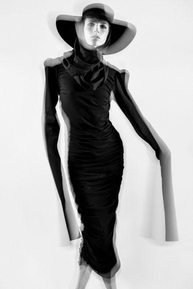 Shoulder padded black tube dress : REAMEREI  - Black hat: MONTEGALLO ALICE CATENA  - Black foulard: STYLIST'S OWN