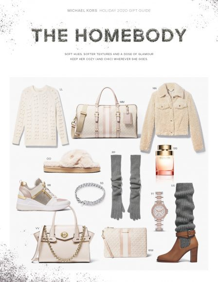 Michael Kors - HOLIDAY GIFT GUIDE 2020  LL: EMBELLISHED CABLE STRETCH WOOL SWEATER MM:BEDFORD TRAVEL EXTRA-LARGE LOGO STRIPE WEEKENDER BAG NN:FAUX SHERPA TRUCKER JACKET OO: LALA FAUX FUR SLIDE SANDAL PP:RIBBED CASHMERE GLOVES QQ: WONDERLUST EAU DE PARFUM, 3.4 OZ. RR: GEORGIE LEATHER AND CHAIN-MESH TRAINER SS: PRECIOUS METALPLATED STERLING SILVER PAVÉ CURB-LINK BRACELET TT: MINI CAMILLE PAVÉ TWO-TONE WATCH UU: STEPHANIE LEATHER AND CASHMERE BOOT VV: CARMEN SMALL SAFFIANO LEATHER BELTED SATCHEL WW: LARGE LOGO STRIPE ZIP POUCH