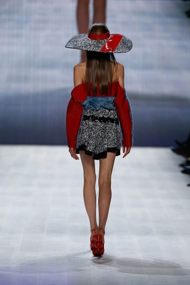 A model detail, at the Julia Seemann fashion show during the Mercedes Benz Fashion Days in Zurich on November, 2014