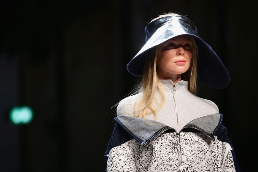 A model walks the runway at the Julia Seemann fashion show in the MBFD on November, 2014 in Zurich