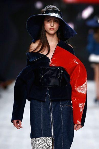 A model walks the runway at the Julia Seemann fashion show in the Mercedes Benz Fashion Days 2014 on November, in Zurich