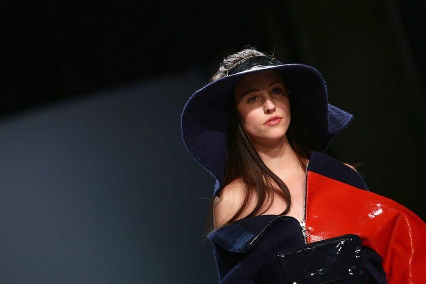 A model walks the runway at the Julia Seemann fashion show in the Mercedes Benz Fashion Days November, 2014 in Zurich