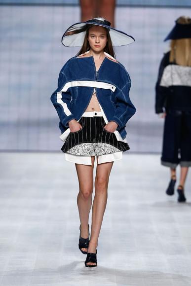 A model walks the runway at the Julia Seemann fashion show in the Mercedes Benz Fashion Days Zurich 2014 on November, 2014 in Zurich