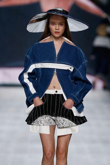 A model walks the runway at the Julia Seemann fashion show in the Mercedes Benz Fashion Days Zurich on November, 2014