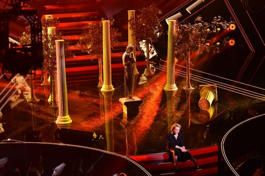 Achille Lauro and Monica Guerritore are seen on stage during the 71th Sanremo Music Festival 2021 at Teatro Ariston on March 04, 2