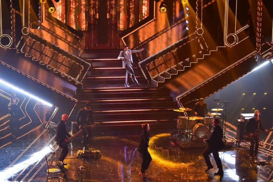 Achille Lauro is seen on stage at the 71th Sanremo Music Festival 2021 at Teatro Ariston on March 03, 2021 in Sanremo