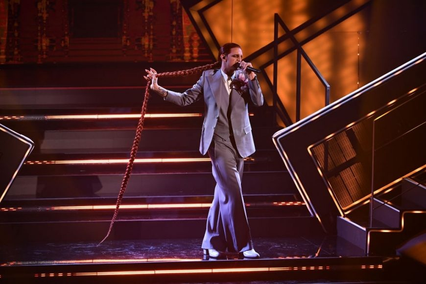 Achille Lauro is seen on stage at the 71th Sanremo Music Festival 2021 at Teatro Ariston on March 03, in Sanremo
