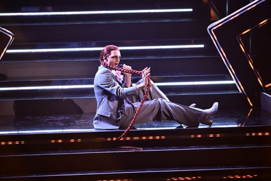 Achille Lauro is seen on stage at the 71th Sanremo Music Festival 2021 at Teatro Ariston on March, 2021