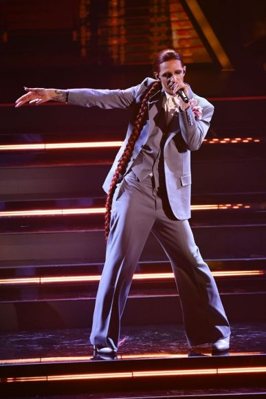 Achille Lauro perform on stage at the 71th Sanremo Music Festival 2021 at Teatro Ariston on March 03, in Sanremo