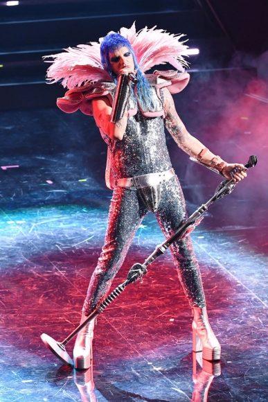Achille Lauro performs at the 71th Sanremo Music Festival 2021 at Teatro Ariston on March, 2021 in Sanremo