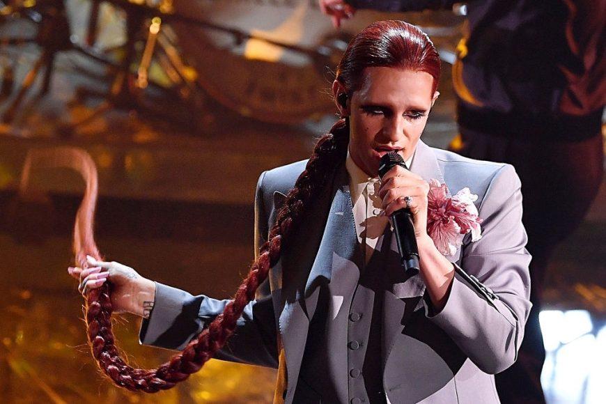 Achille Lauro performs at the 71th Sanremo Music Festival 2021 at Teatro Ariston on March, in Sanremo