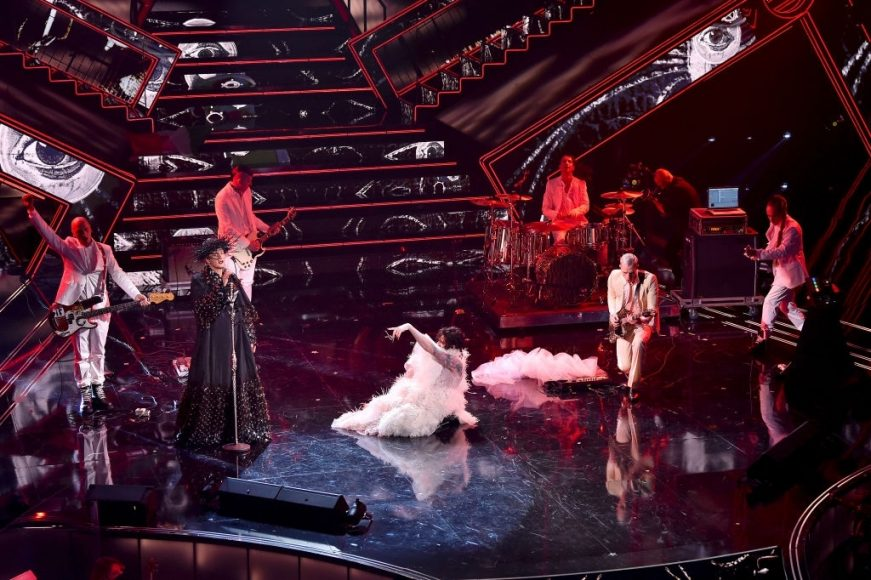 Fiorello, Achille Lauro and Boss Doms are seen on stage during the 71th Sanremo Music Festival 2021 at Teatro Ariston on March 05