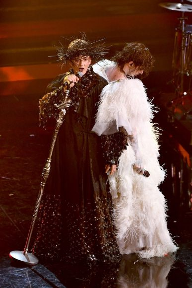 Fiorello and Achille Lauro are seen on stage during the 71th Sanremo Music Festival 2021 at Teatro Ariston on March 05, in Sanremo, Italy