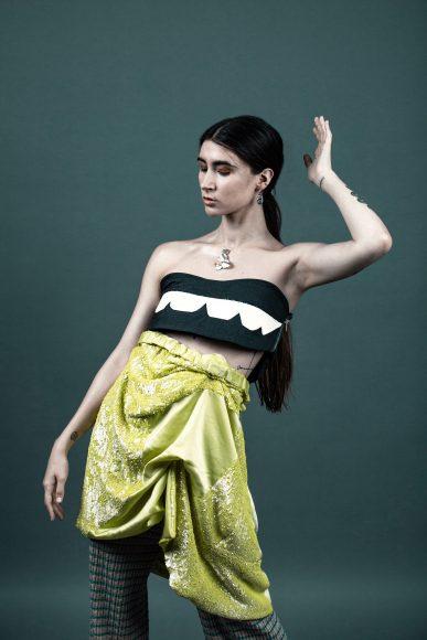 Pant ESTER FERRANDO Jewellery MYRIAM MORENO Top JUANVG skirt by Sophie