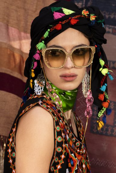 Earrings and Necklace Alice Hubert  Glasses Emmanuelle Khanh  scarf Green Gucci  scarf Black berbère archive