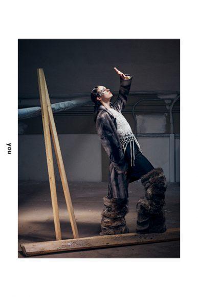 Long jacket: Dadsit  T-shirt open-work: Zara  Skirt: Vintage  Shoes: Dadsit  Face jewel: Idriss Guelai Atelier